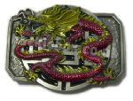 CHINESE DRAGON (RED & YELLOW) BELT BUCKLE + display stand